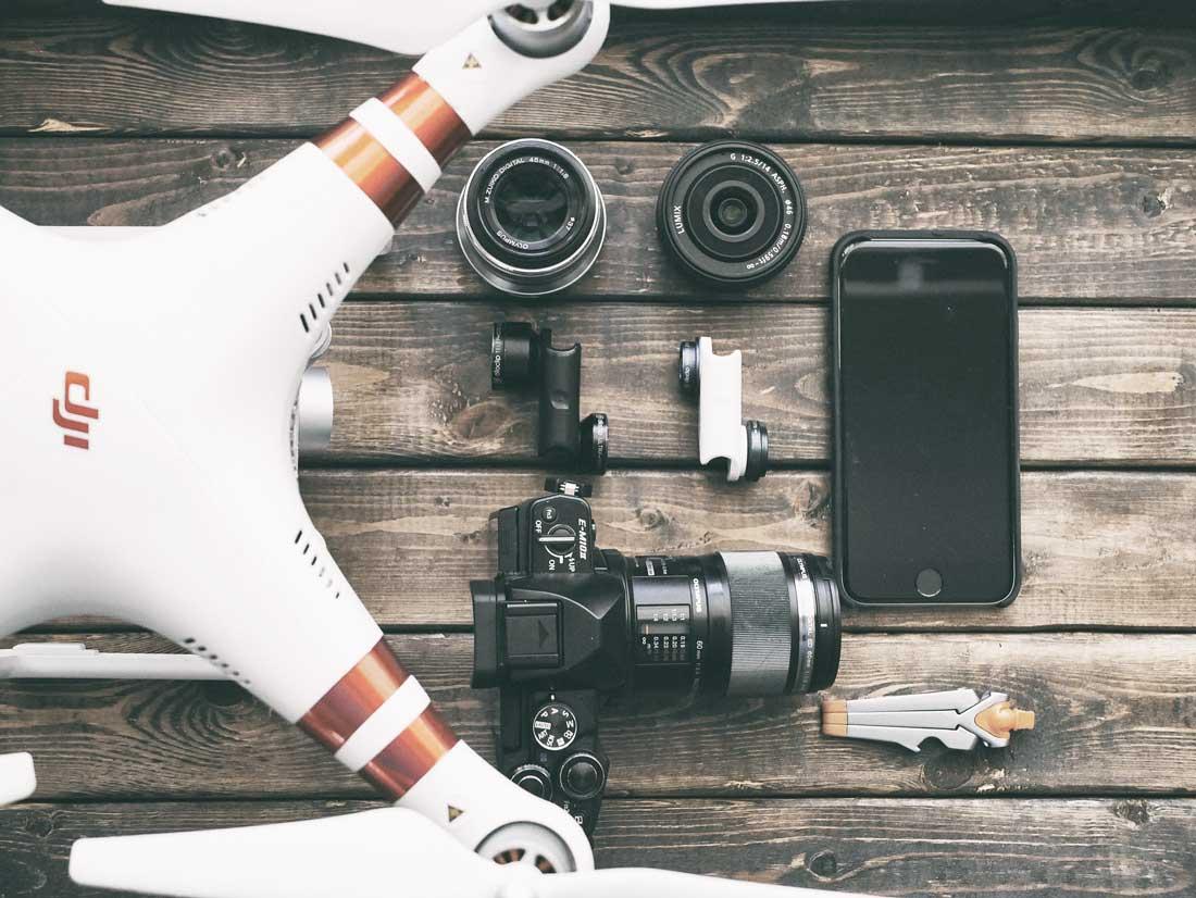 attrezzatura, drone, dji, videocamera